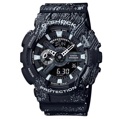 G-SHOCK霧狀蠟筆紋路設計運動時尚概念休閒錶(GA-110TX-1a)-黑/51.2mm