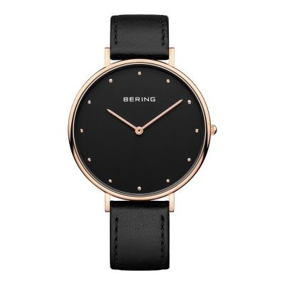 BERING-簡約刻度系列 藍寶石鏡面 黑色真皮黑錶盤玫瑰金框39mm
