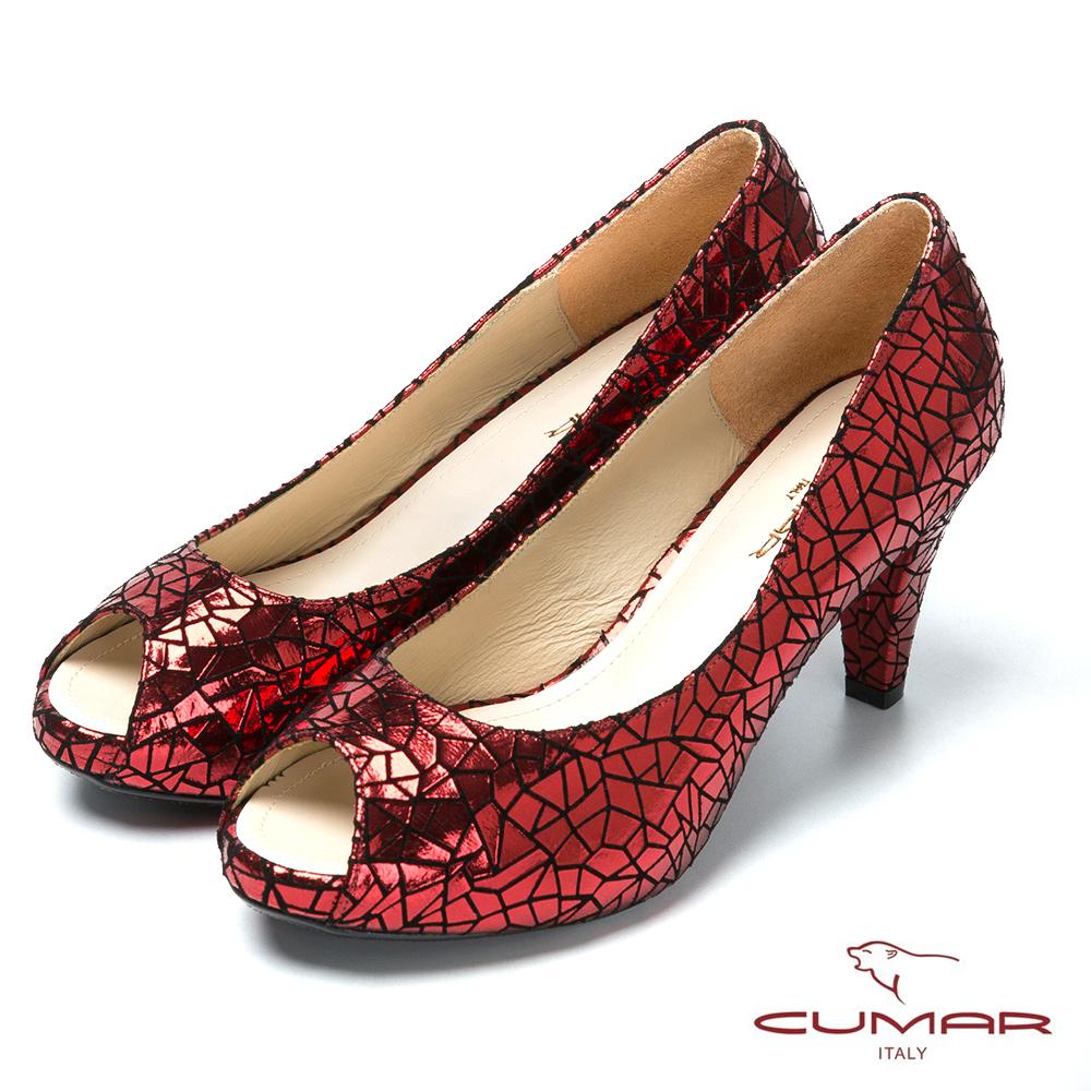 CUMAR台灣製造 金屬色羊皮高跟魚口鞋-紅