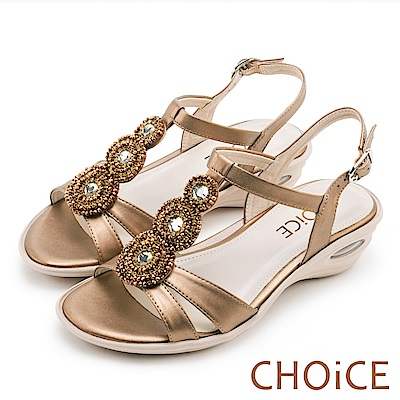 CHOiCE 異國休閒舒適 復古寶石鑽飾造型氣墊涼鞋-銅色