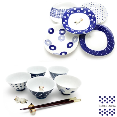 西海輕量波佐見燒5入飯碗組+5入多用盤組-藍丸紋