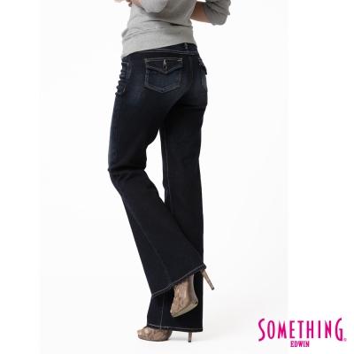 SOMETHING STORYⅡ魔束纖腰伸縮大喇叭牛仔褲--女款-原藍磨