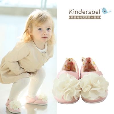 Kinderspel 輕柔細緻‧棉花糖休閒學步鞋(粉紅蛋苞花-花朵)