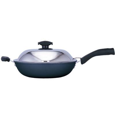 日本寶馬黑瓷釉不沾單把炒鍋 32cm JA-A-008-032