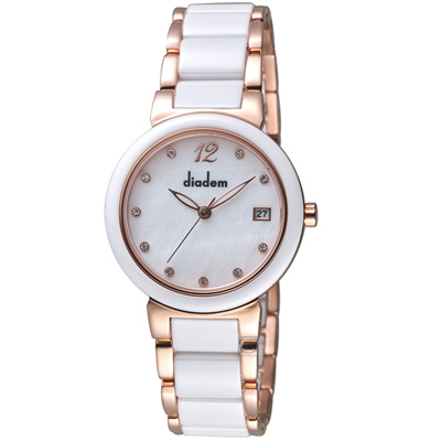 Diadem黛亞登經典時尚陶瓷腕錶(7D1712-521RG-S)-32mm