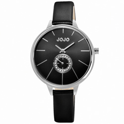 NATURALLY JOJO 曙光魅力晶鑽時尚腕錶-黑/37mm