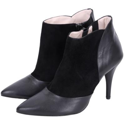 Repetto 麂皮拼接尖頭高跟短靴(黑色)