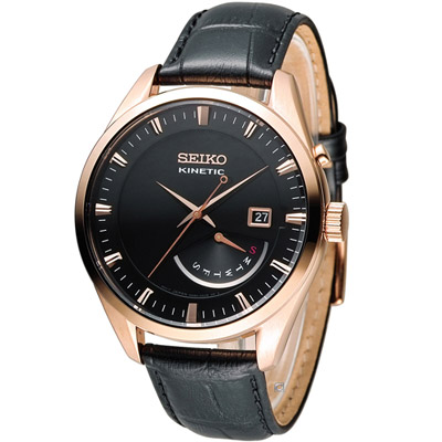 SEIKO Kinetic 人動電能簡約時尚腕錶(SRN078P1)-黑/42mm