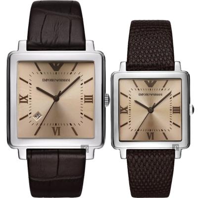 Emporio Armani Dress 亞曼尼 20 週年方型對錶- 38 + 30 mm
