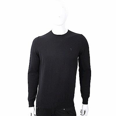 TRUSSARDI T字刺繡細節黑色圓領針織羊毛衫