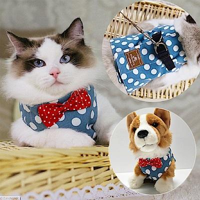 【摩達客寵物】藍白圓點背心領結胸背帶牽繩裝(遛貓咪遛小狗超萌神器)