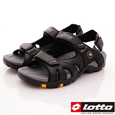 Lotto樂得-探險家戶外涼鞋款-FI200黑色(男段)