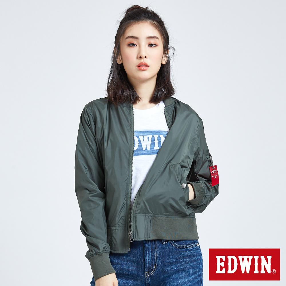 EDWIN 雙面穿MA1迷彩外套-女-墨綠