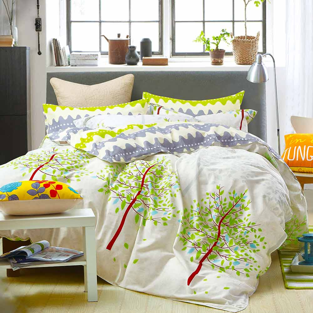 Ania Casa 台灣製 100%純棉 - 單人床包被套三件組- 清新樹影