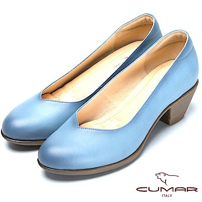 CUMAR氣墊大底-嚴選真皮氣墊高跟鞋-藍色