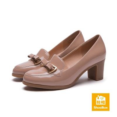 鞋櫃ShoeBox-高跟鞋-蝴蝶結素色粗跟高跟鞋-膚