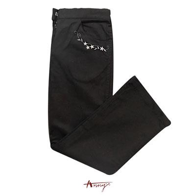 Annys素面時尚刺繡花瓣造型長褲*1416黑