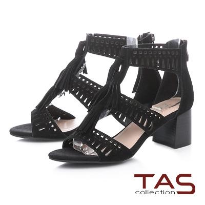 TAS羅馬風流蘇沖孔麂皮後包粗跟涼鞋-俐落黑