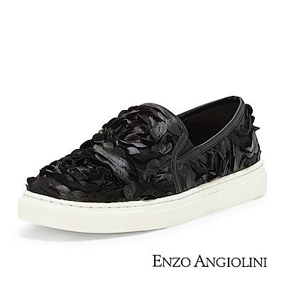 ENZO ANGIOLINI--立體花瓣休閒平底鞋-奢華黑