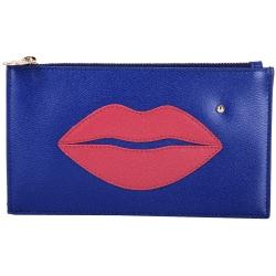 Charlotte Olympia Pouty 唇印小牛皮手拿包(藍色)