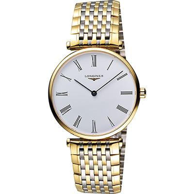 LONGINES 嘉嵐系列經典羅馬石英錶(L47552117)-白x雙色版/36mm