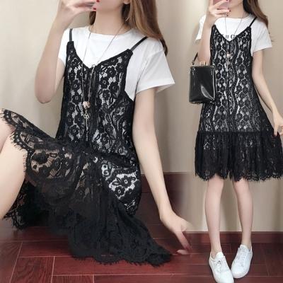 中大尺碼 字母白色長上衣加V領黑色蕾絲細肩背心裙XL~4L-Ballet Dolly