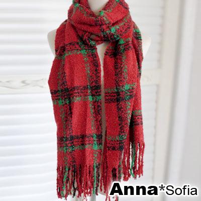 AnnaSofia-虛線格圈絨款-鬆軟毛線織圍巾-紅底綠線