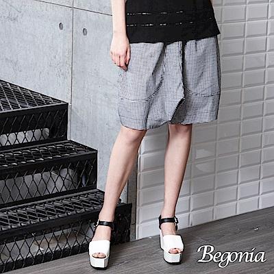 Begonia 格紋口袋哈倫五分褲(黑白格)