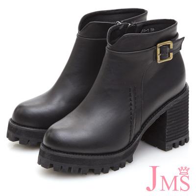 JMS-品味潮流造型車線環扣高跟短靴-黑色