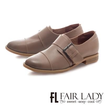 Fair Lady 文青風扣帶拼接紳士平底鞋 芋