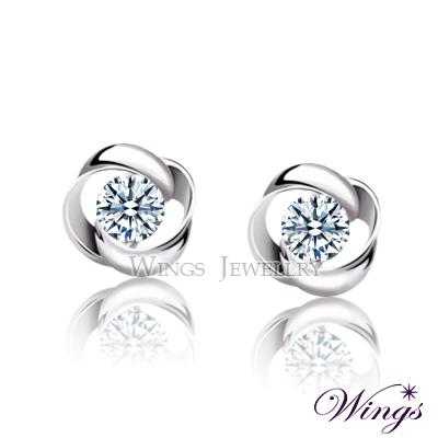Wings 耳環 幾何時尚 進口方晶鋯石穿式耳環