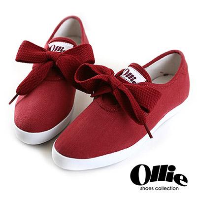 Ollie韓國空運-正韓製超Q寬綁帶蝴蝶結尖頭帆布休閒鞋-紅