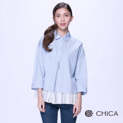 CHICA-浪漫甜美薄紗拼接半開襟造型上衣-2色