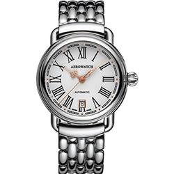AEROWATCH 古典鏤空指針腕錶-銀/40mm