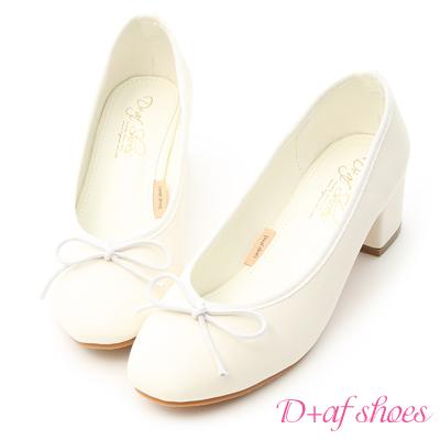 D+AF 輕漾甜美.小蝴蝶中跟芭蕾娃娃鞋*白