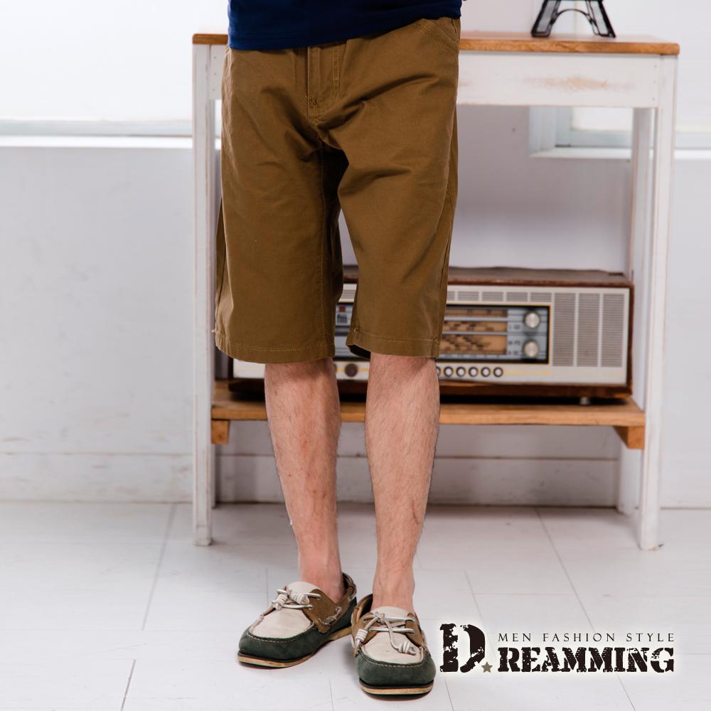 Dreamming 美式簡約繡線釦飾純棉休閒短褲-棕色