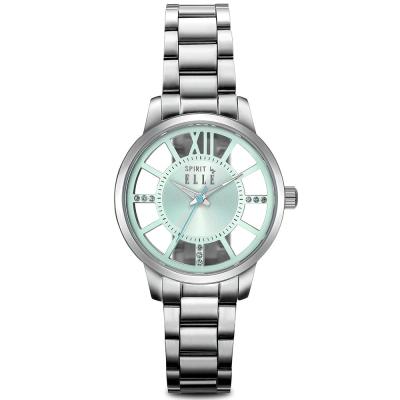ELLE 獨特鏤空錶盤不鏽鋼時尚腕錶-綠/ 36 mm