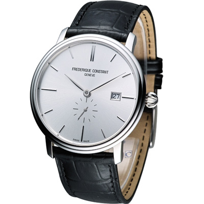 CONSTAN Slim Line 都會紳士小秒針機械腕錶-銀灰/41mm