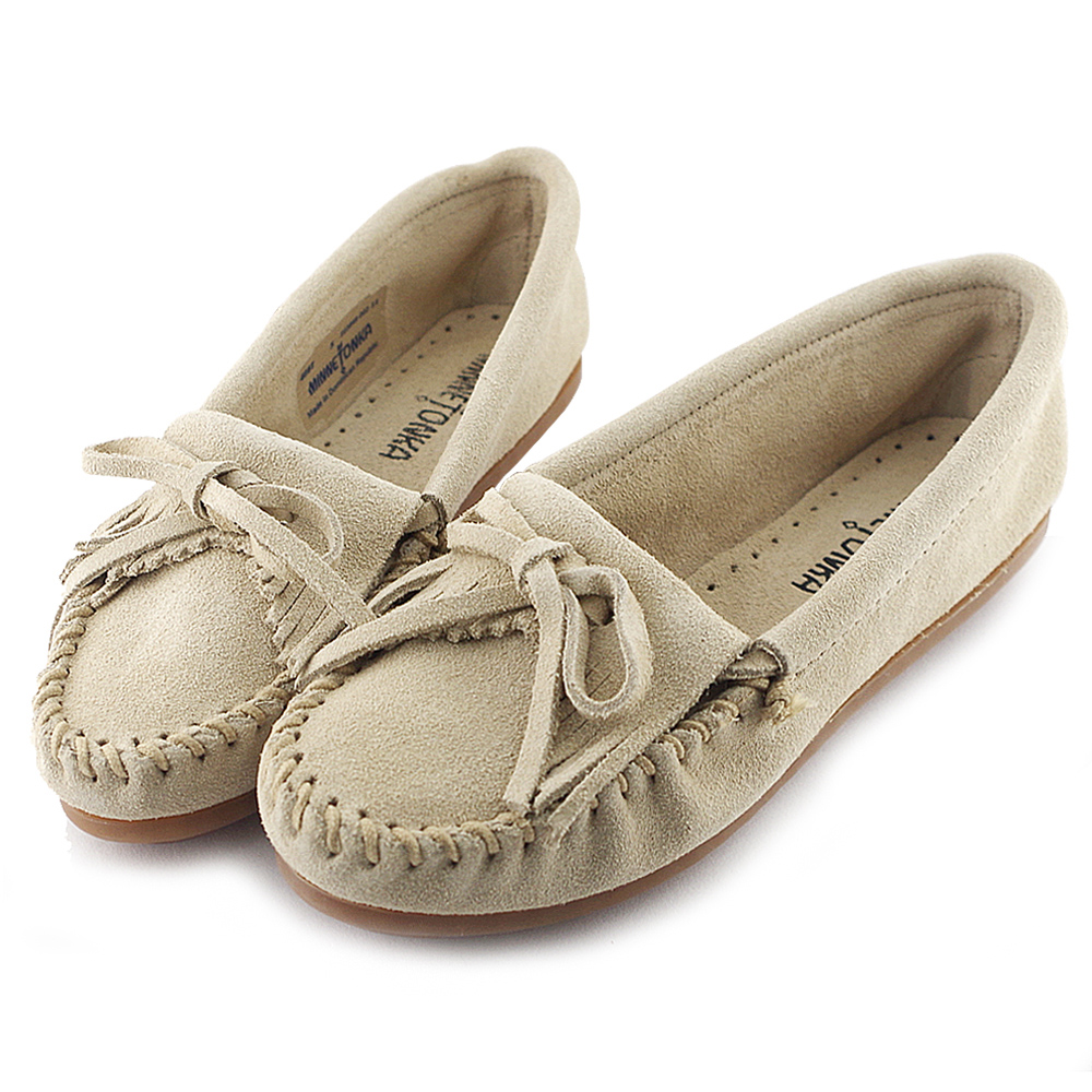 MINNETONKA 牛奶糖色麂皮素面莫卡辛 女鞋 (展示品)
