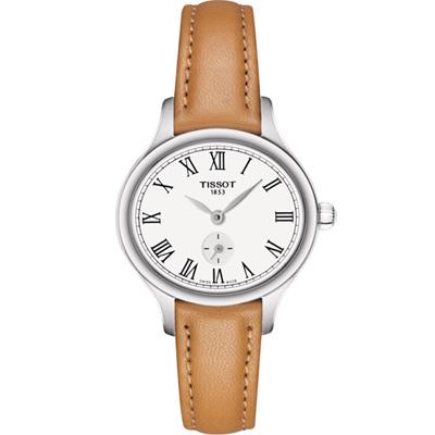 TISSOT 天梭 Bella Ora 羅馬時光時尚腕錶-白x咖啡/27mm