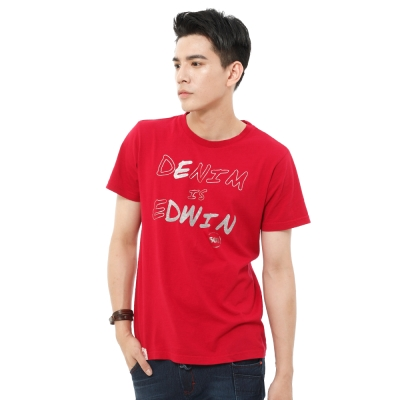 EDWIN-T恤-DENIM印箔紋字T恤-男-紅色