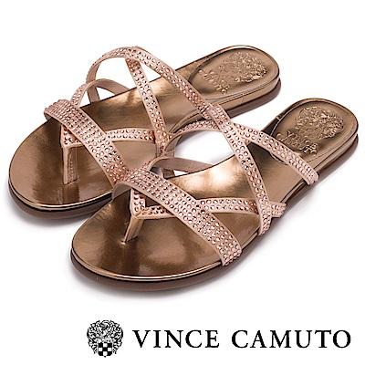 Vince Camuto 羅馬水鑽交錯平底拖鞋-粉色