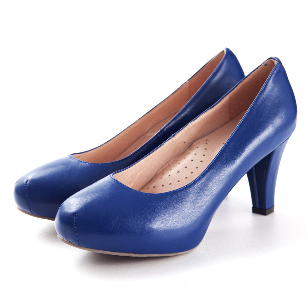 G.Ms.推薦通勤鞋‧靜音鞋跟真皮厚底粗跟包鞋‧寶藍