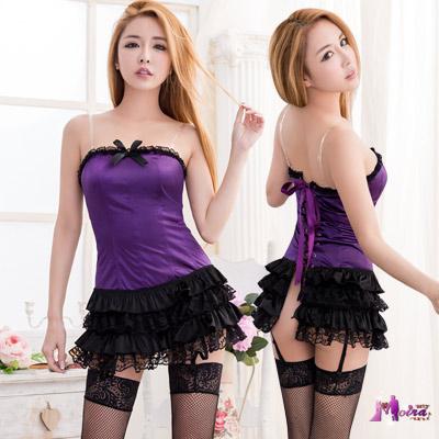 馬甲 魅紫緞面黑蕾絲澎裙長馬甲吊襪帶五件組(紫F) Moira