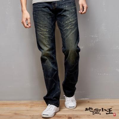 地藏小王 BLUE WAY  地藏潑漆印花低腰直筒褲-復古藍
