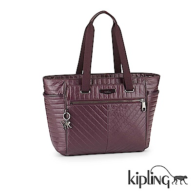 Kipling 手提包 質感條紋紫-大