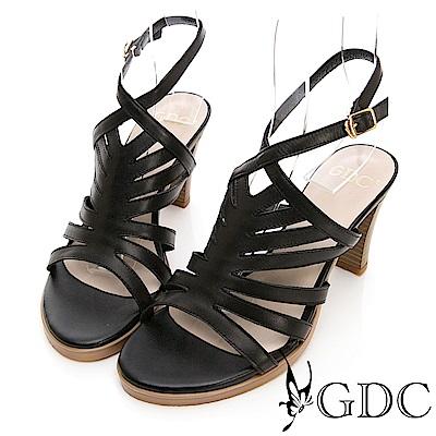 GDC-真皮希臘歐風女神款羅馬繞帶粗跟涼鞋-黑色