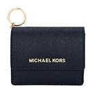 MICHAEL KORS JET SET防刮真皮扣式鑰匙零錢包(深藍)
