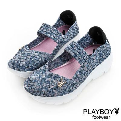 PLAYBOY-輕快話題-甜美系編織娃娃鞋-藍灰
