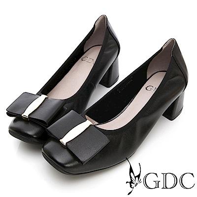 GDC-真皮特殊造型大蝴蝶結質感粗跟鞋-黑色
